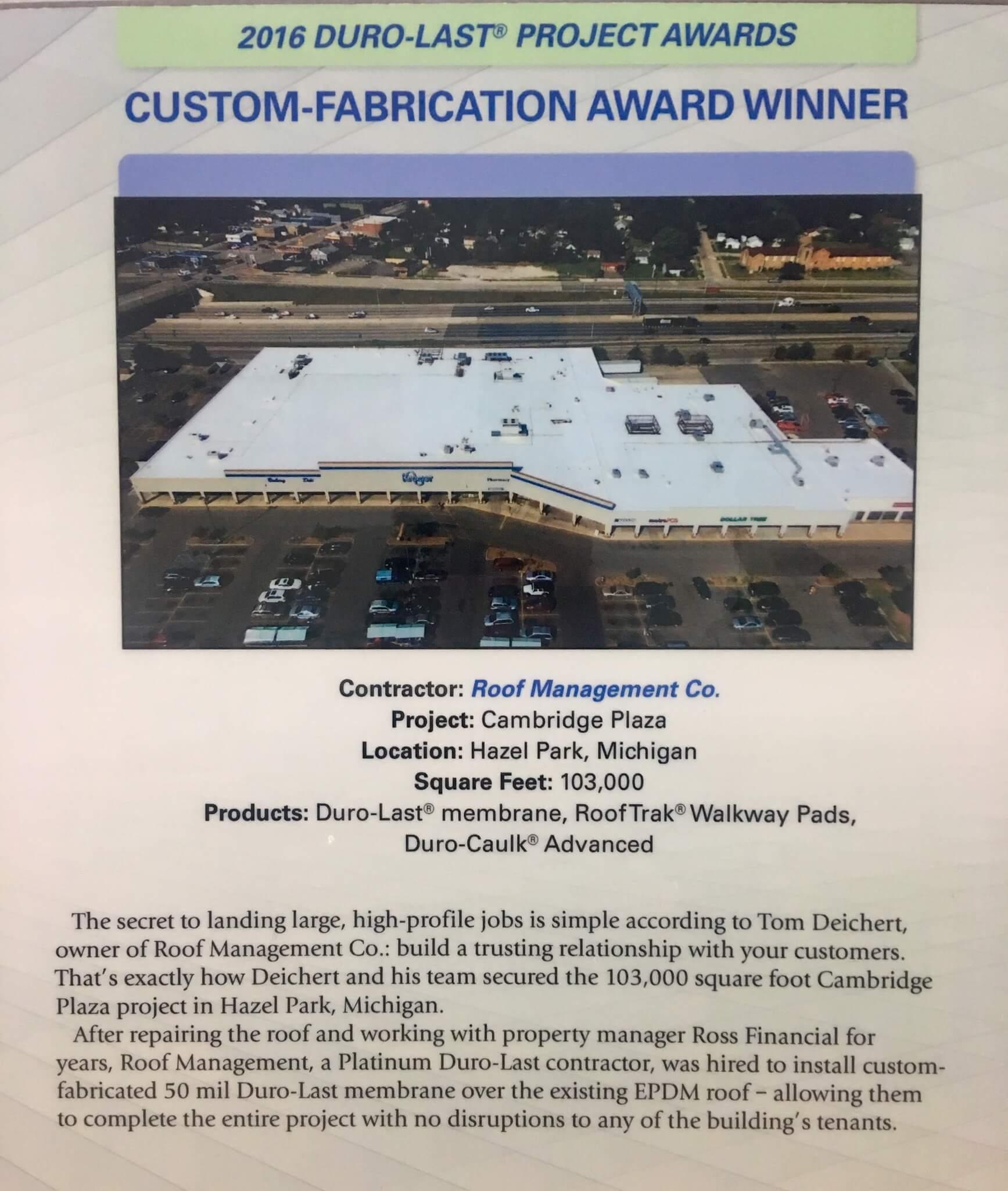 Duro-Last Custom-Fabrication Award
