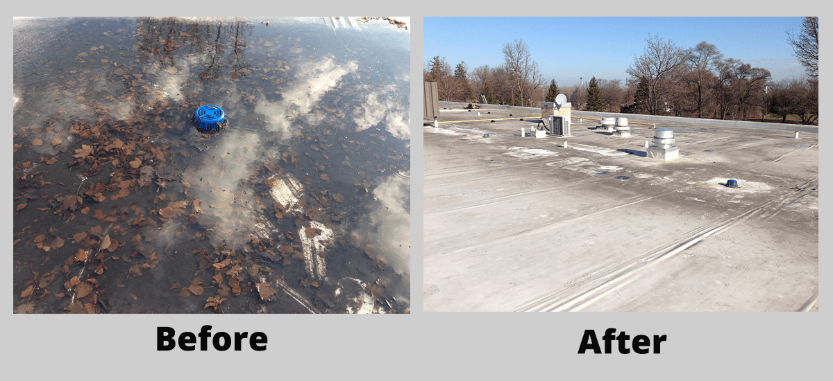 Preventative roof maintenance before and after clogged drains