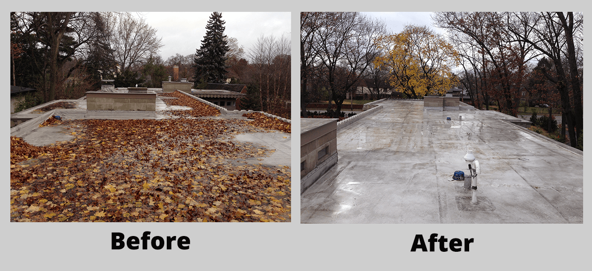 Preventative roof maintenance before and after cleaning off leaves