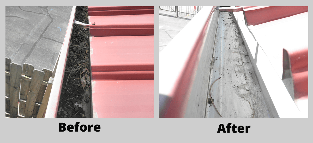 Preventative roof gutter maintenance before and after