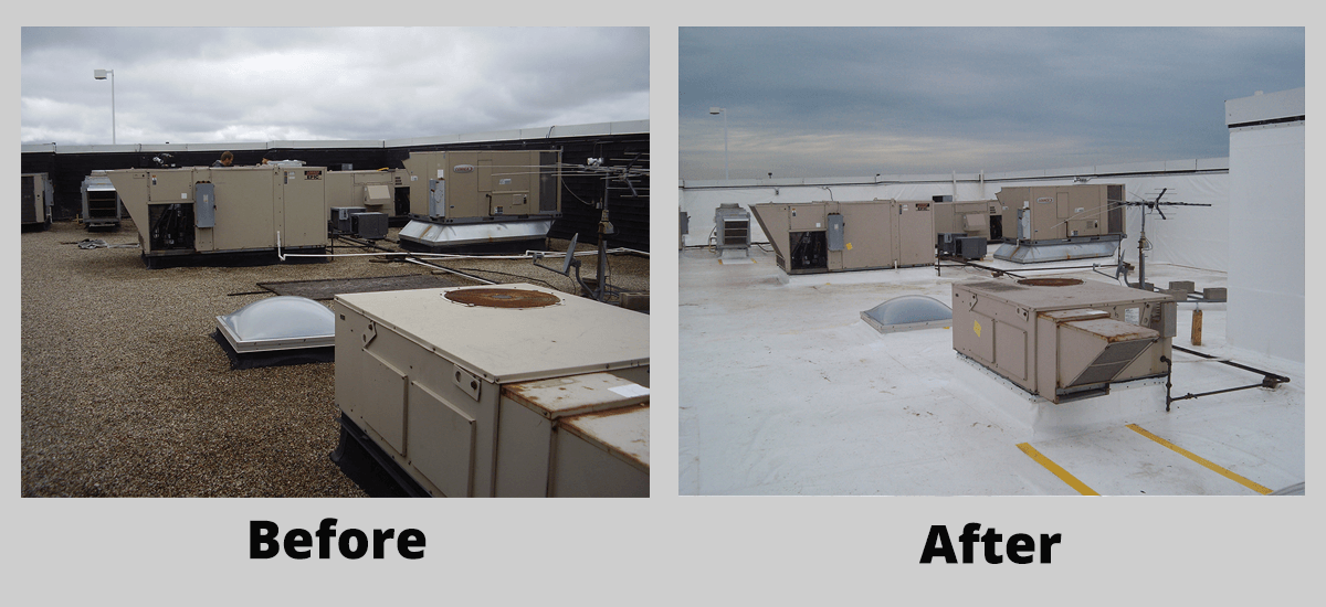 New Duro-Last ROOF Management CO Commercial roof installation before and after