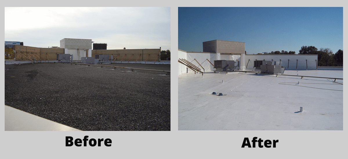 New ROOF Management CO Commercial roof installation before and after