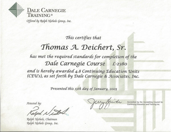 Dale Carnegie Training Certificate for Thomas A. Deichert, Sr.