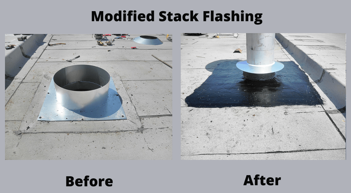 Modified Stack Flashing before and after