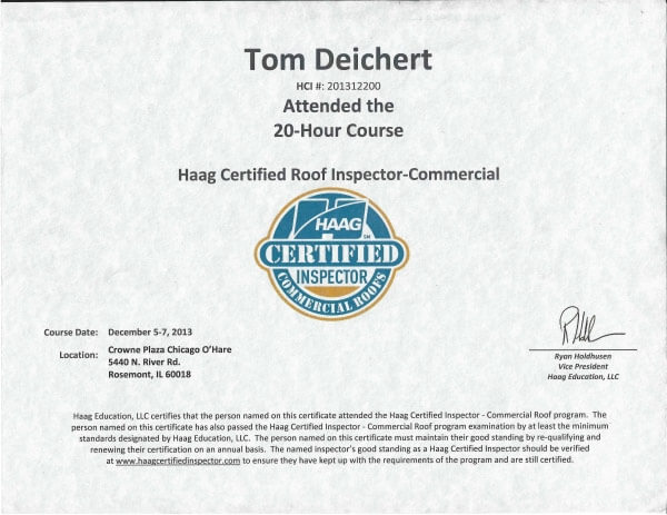 Tom Deichert Haag Certified Roof Inspector-commercial