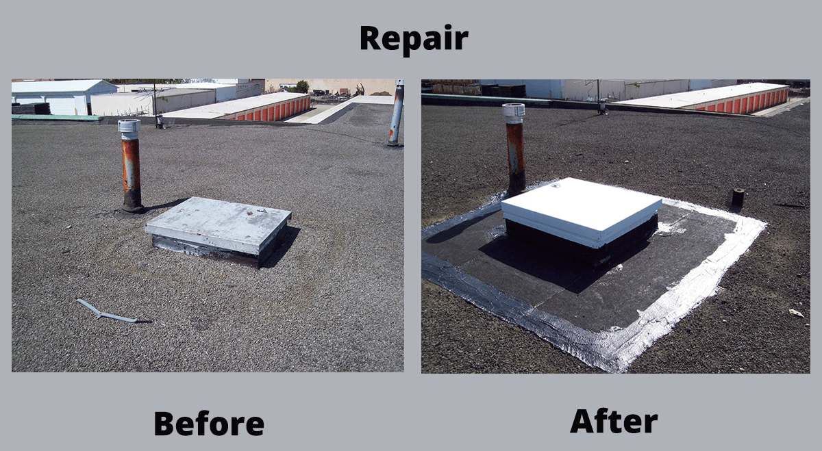 Wind damage repair before and after