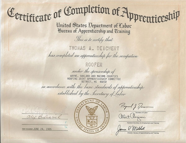 Certificate of Completion of Apprenticeship United States Department of Labor ROOF Management CO