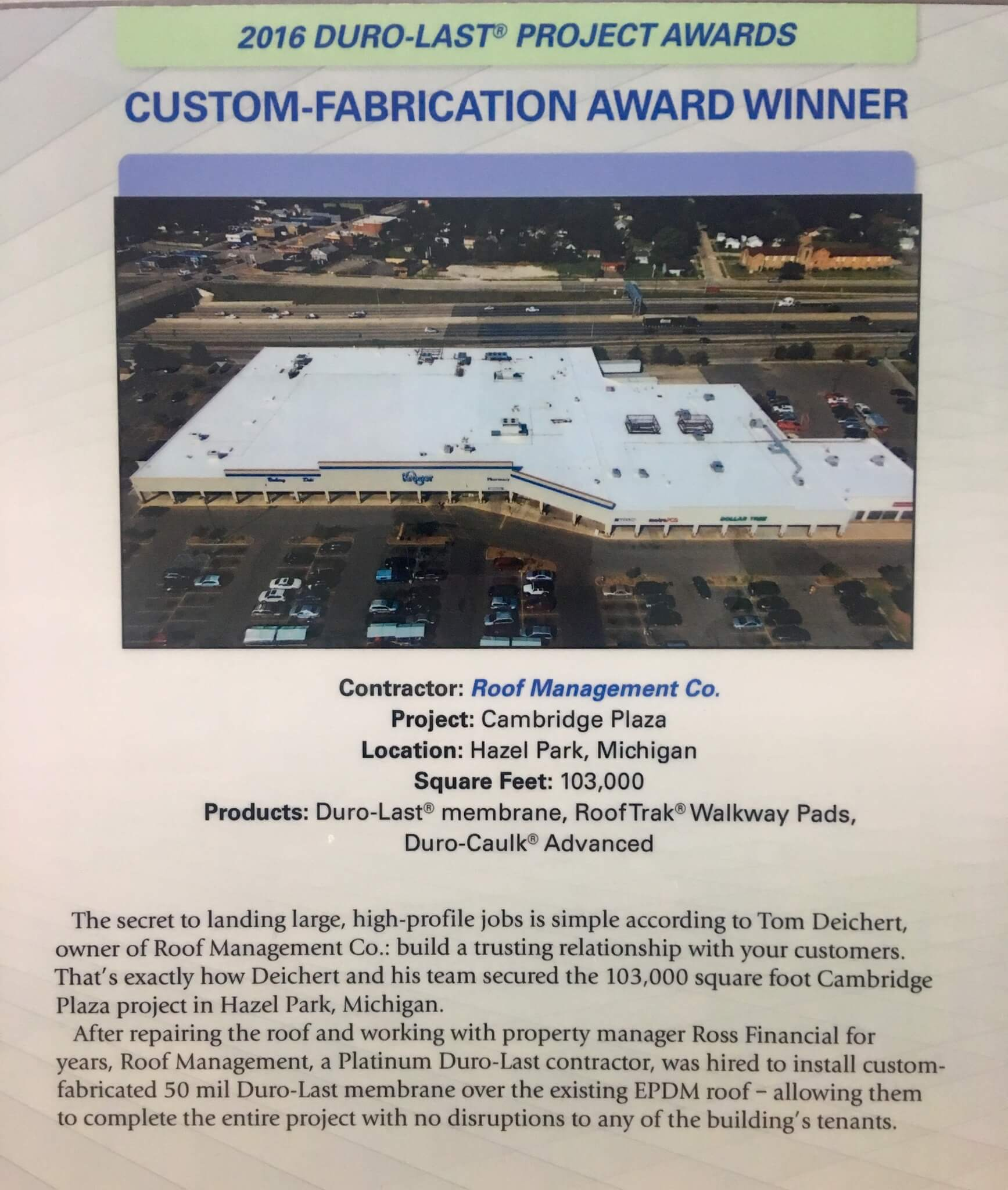 Duro-Last Custom-Fabrication Award