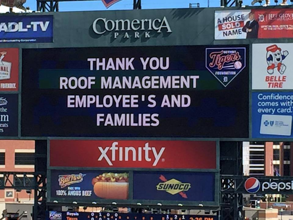 Roof Management CO at a Detroit Tigers Baseball game