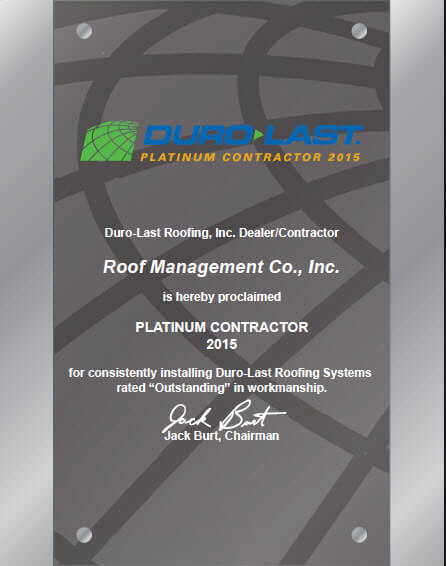 Duro-Last Platinum Contractor plaque 2015