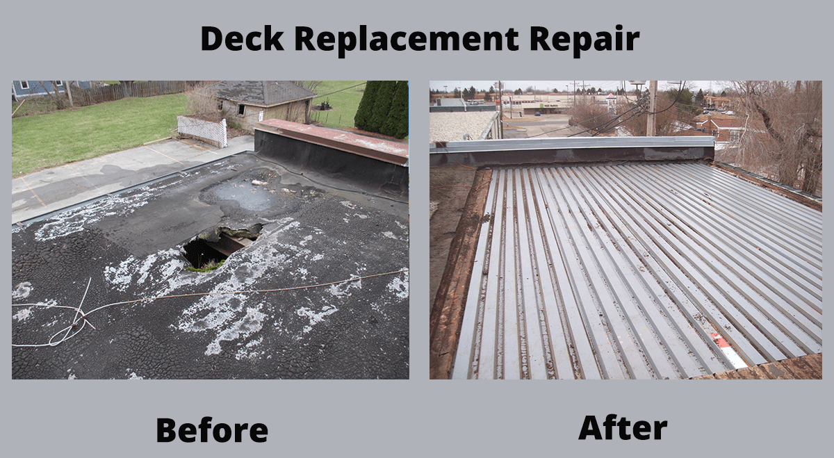 Deck Replacement Repair before and after