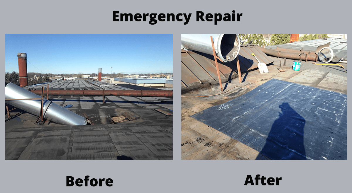 Emergency Roof Repair Before and After