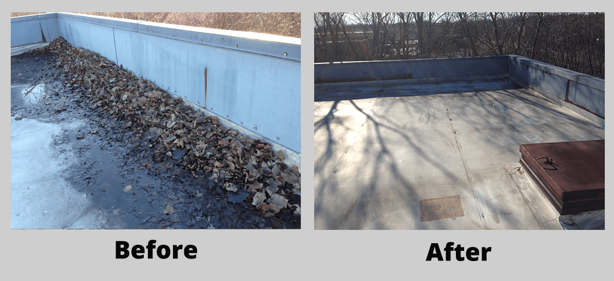 Preventative roof maintenance before and after leaves
