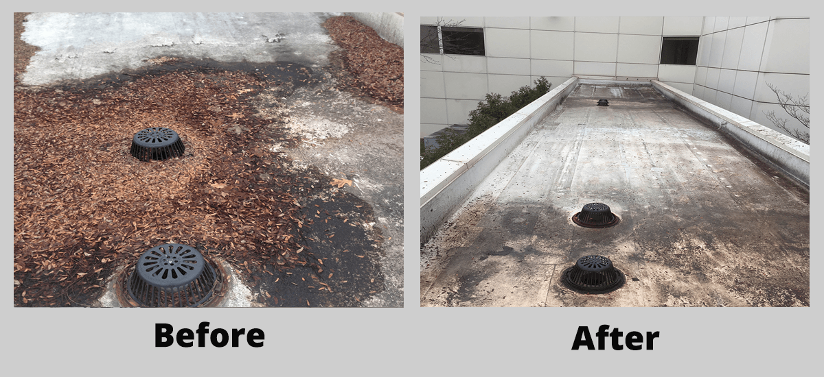 Preventative roof maintenance before and after cleaning off debris
