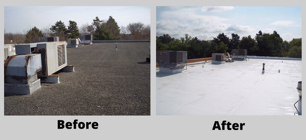 New Duro-Last commercial roof installation before and after