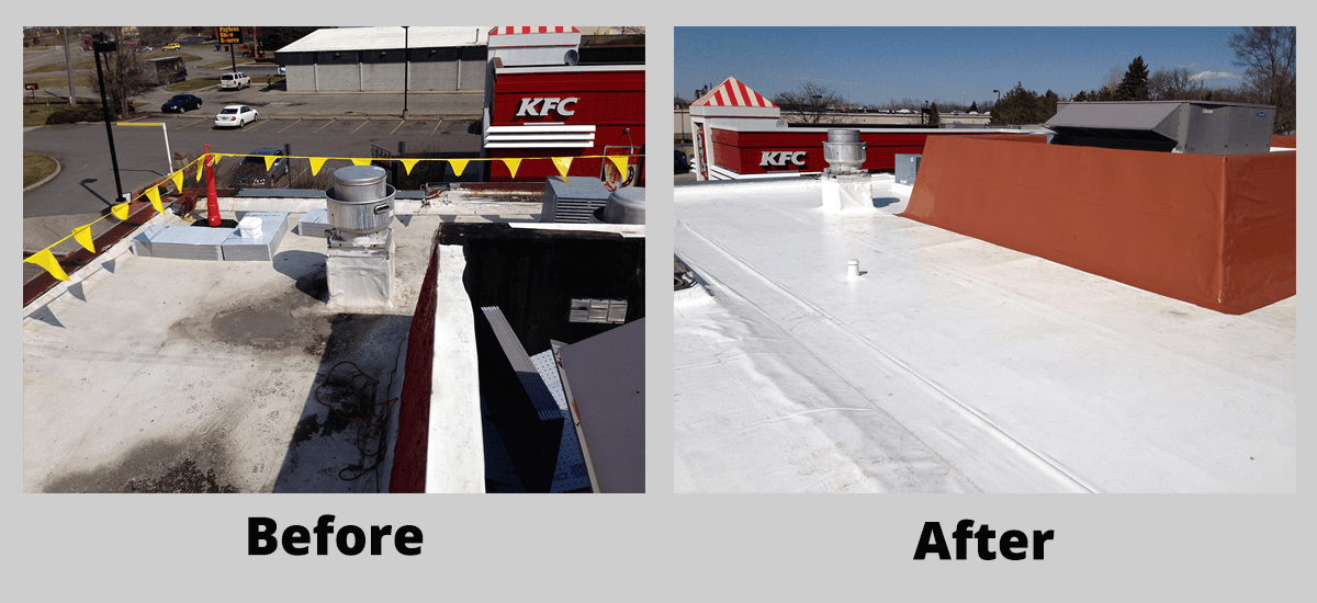 KFC new Duro-Last roof installation before and after