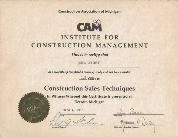 Construction Association of Michigan Sales Techniques Thomas Deichert