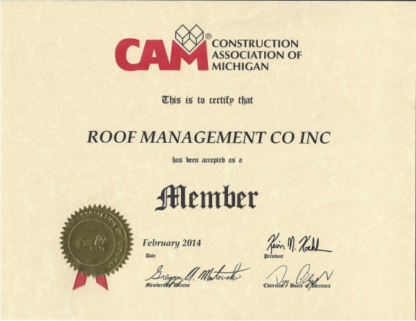 Construction Association of Michigan Member ROOF Management CO 2014