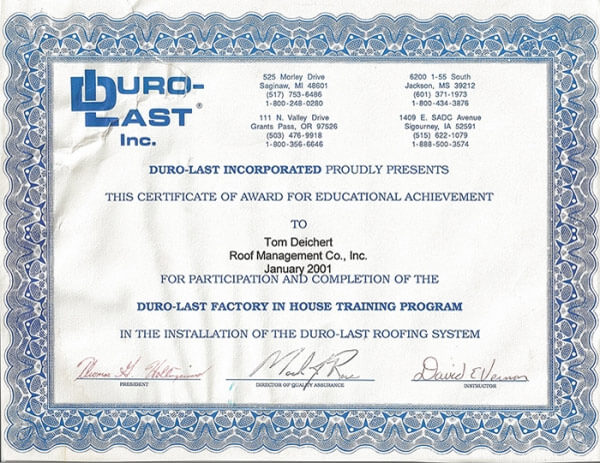 Duro-last Roofing Educational Achievement Award for ROOF Management CO