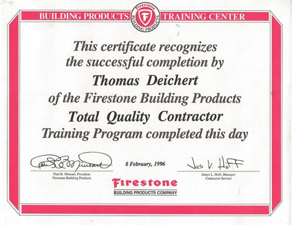 Firestone Building Products Top Quality Contractor Certificate for ROOF Management CO