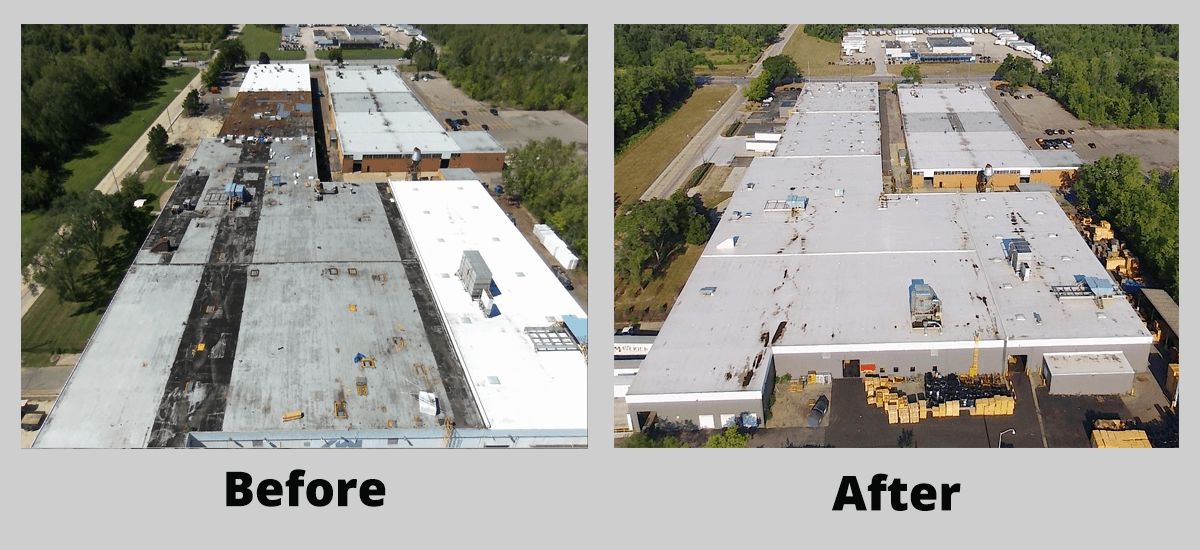 Commercial Roofing Project Before and After