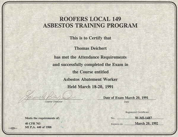 Roofers Local 149 Asbestos Training Program certificate for ROOF Management CO